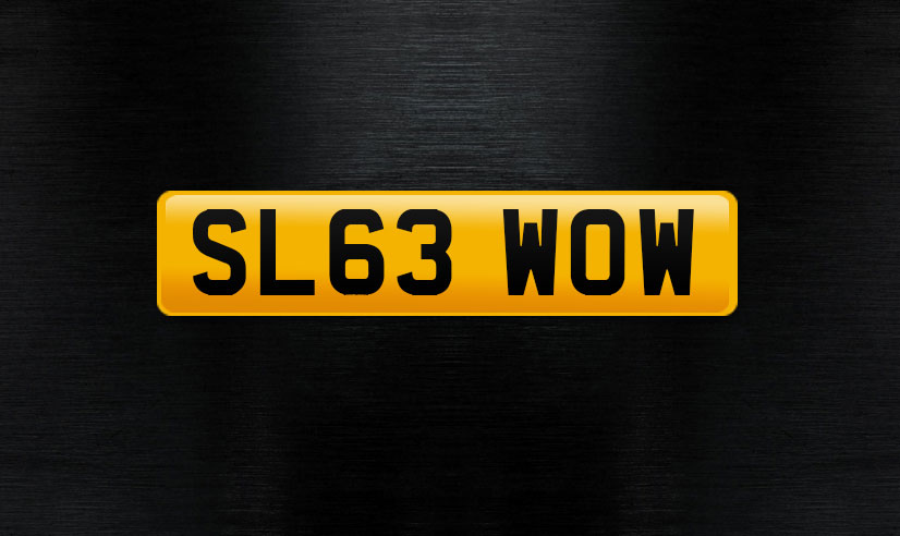 SL63 WOW personalised number plate
